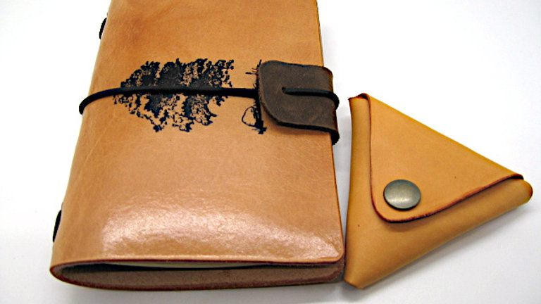 """Leather Midori Field Notebook style for (9x14cm, 3½x5½"""") with Coin Pouch"""