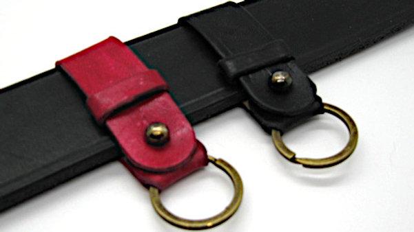 Screw Stud Red & Black Leather Key Keeper or Key Piece