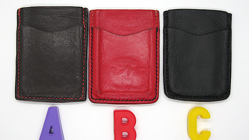 Badalassi Carlo Minimalist Leather Wallet, Leather ID wallet with money strap