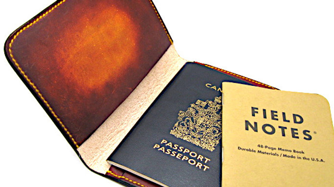leather passport cover, field note cover with pen holder (Sunburst color)