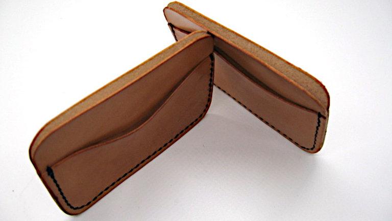 Hand aged Minimalist Elegant Leather Card Holder 3 pockets