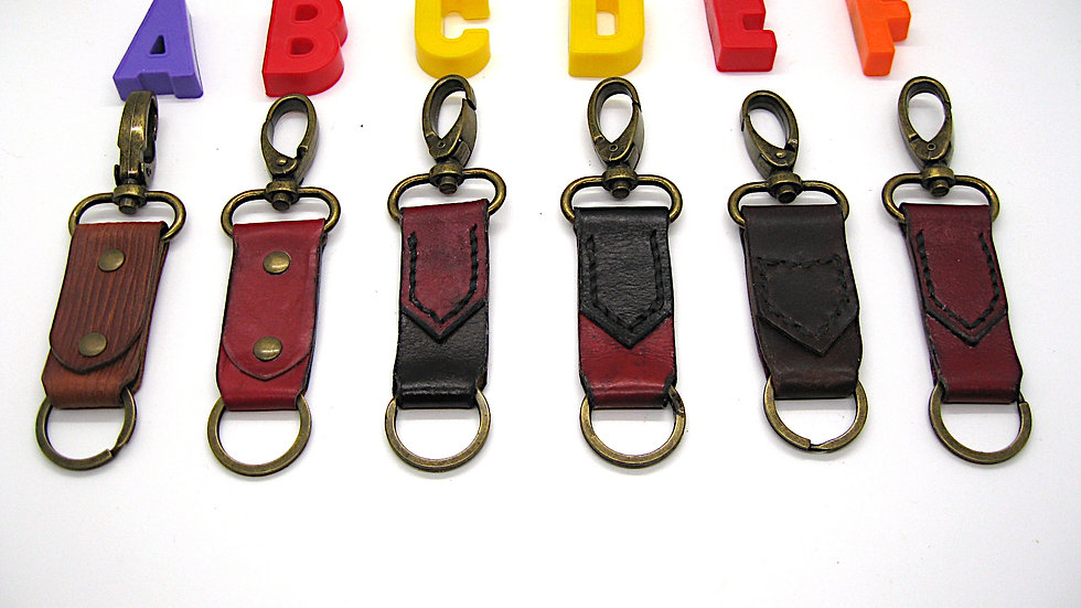 Rivet Red or Tanned Leather Keyper or Key Piece with Lobster Clasps