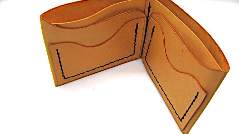 Personalized Big Leather wallet, Kingston Style 5 pockets VEG-TAN CALFSKIN