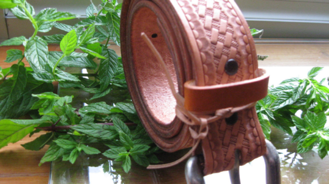 Handmade Leather Belt with Tooling and heavy duty buckle Natural no dye