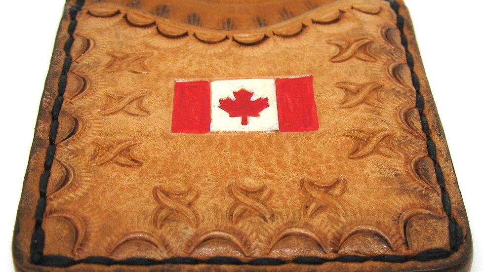 Tooled Canada Flag Leather Card Holder, Credit card holder