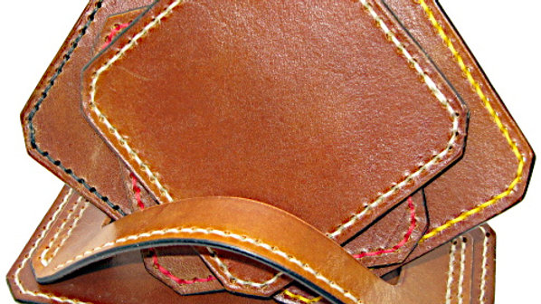 Deluxe Set of four (4) Leather Coaster  & holder Stitched with 4 colors