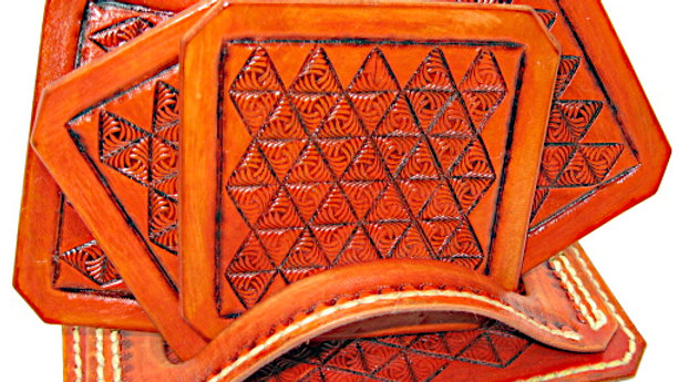 Deluxe Set of four (4) Leather Tooled Triangle