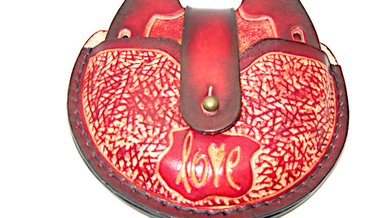 Deluxe LOVE Set of four Leather Horseshoe Coaster with Holder