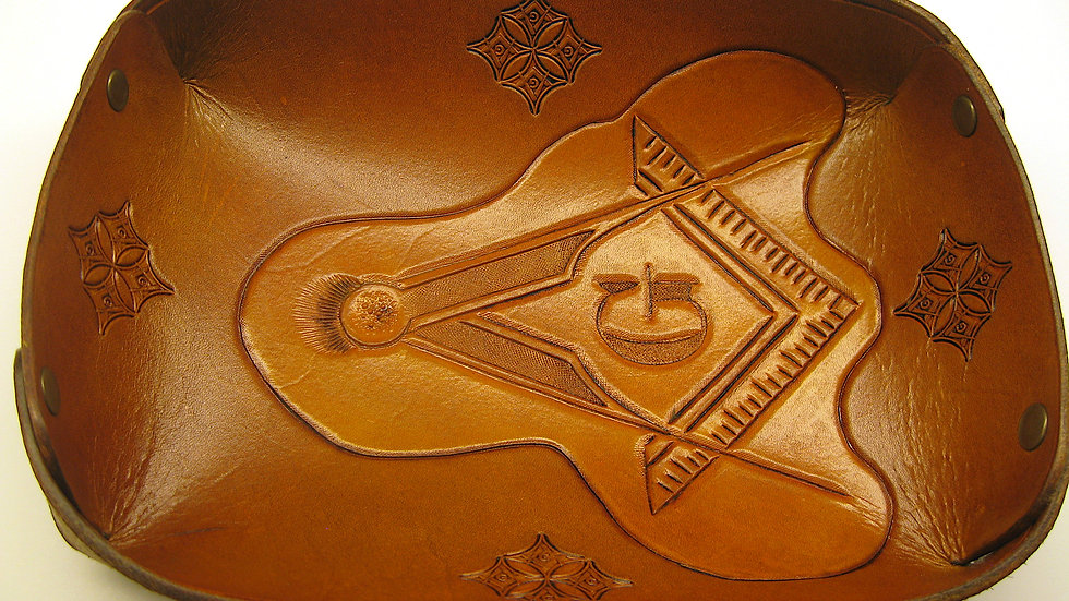 Valet Tray, Leather Catchall featuring a Carved Masonic Symbols Square & Compass
