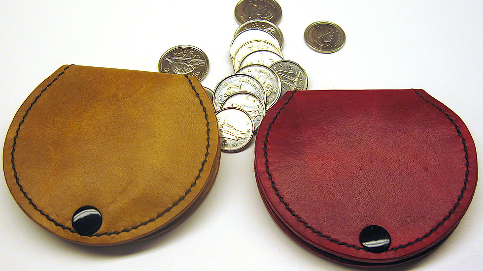 Elegant Milled Cowhide Leather Coin Pouch & Slingshot Ammo pouch