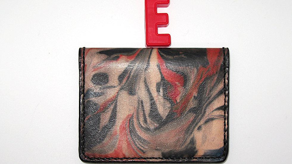 Leather Marble Business Card Holder, Credit card holder, 4 Pockets Bi-Fold
