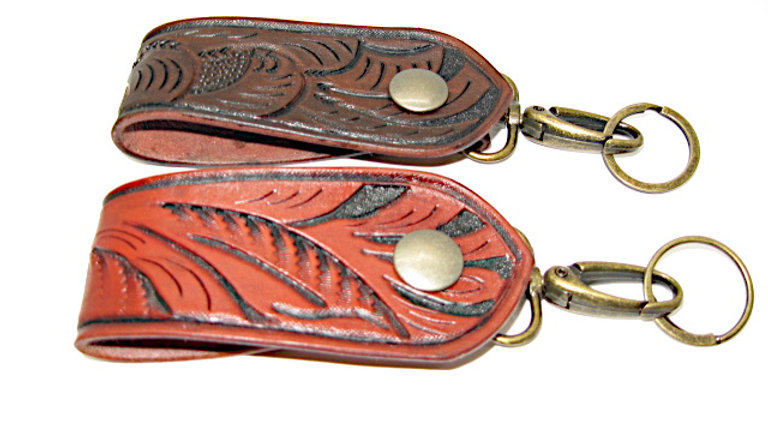 Tooled Belt Loop Key Ring with Lobster Clasps