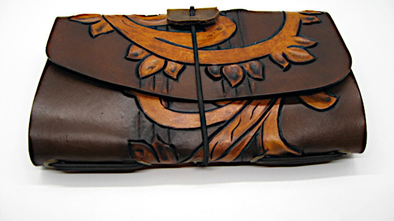 """Leather Midori Field Notebook style for (9x14cm, 3½x5½"""") Carved"""