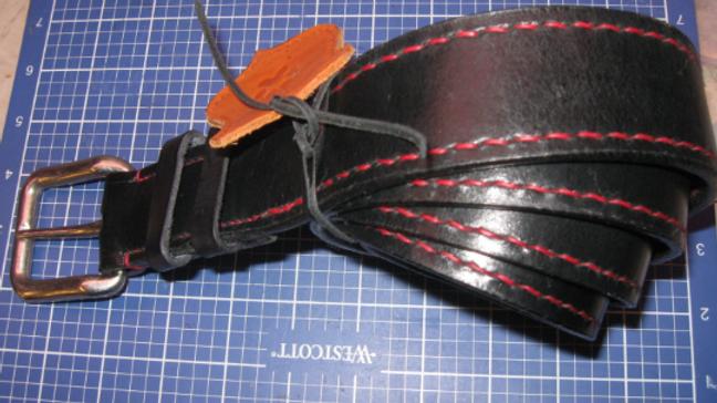 "Stylish Heavy Duty 1-1/2"" rugged leather belt, Leather Black Belt Stitched all t"