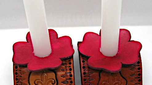Set of TWO Tooled Cowhide Leather Candlestick Holder