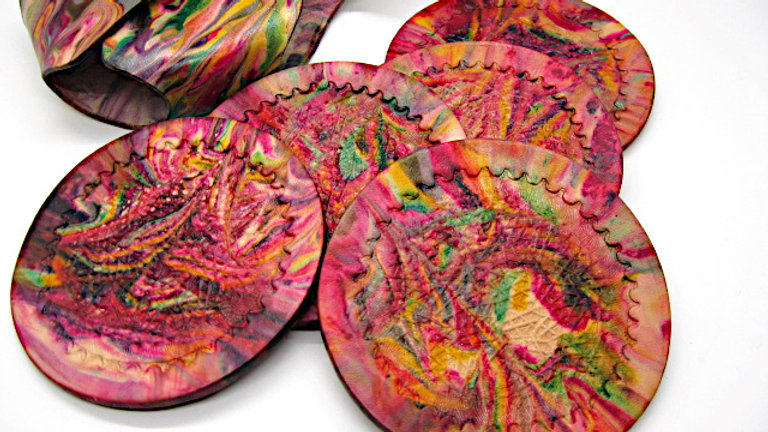 Deluxe Set of six (5) Leather Round Coasters Handmade Marble