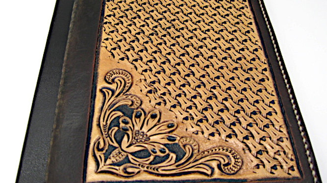 """Carved Tooled Leather Cover Dark Brown for 4.5"""" x 7"""" or 5"""" x 7.5"""""""