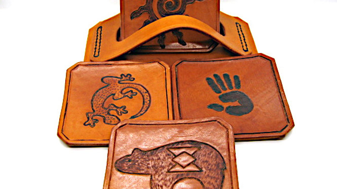 Deluxe Set of four (4) Leather Coaster Native SOUTHWEST with pyrography