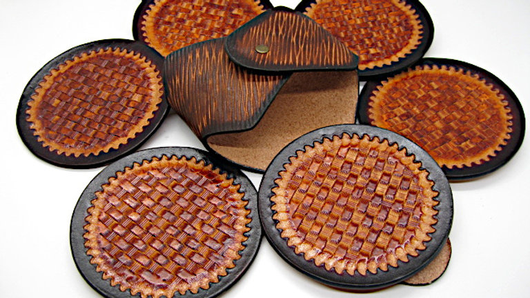Deluxe Set of six (6) Leather Round Coasters Basket Stamp with Holder