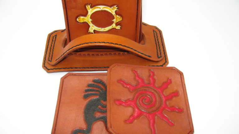 Deluxe Set of four (4) Leather Coaster Native SOUTHWEST