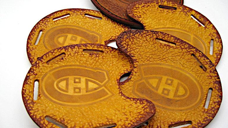 Deluxe Set of four Leather Horseshoe Coaster Montréal Canadiens