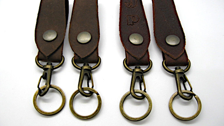 Belt Loop Key Ring Lobster Clasps, Personalized leather keychain