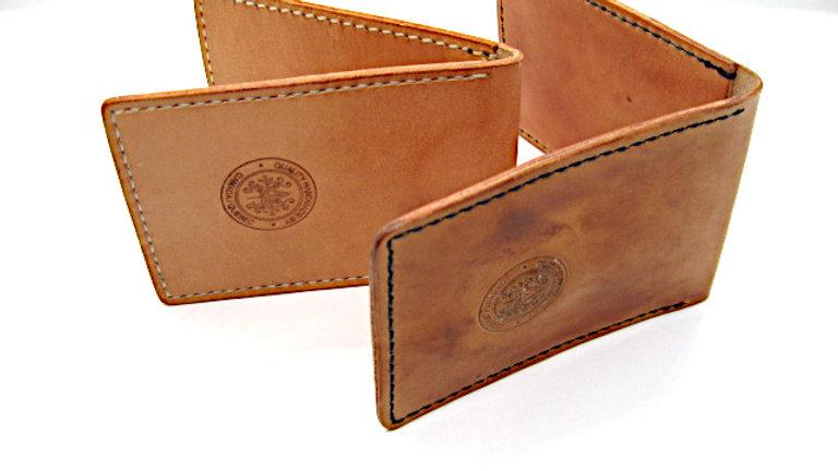 Hand Aged Leather Flip Wallet Elegant Handmade Card Holder