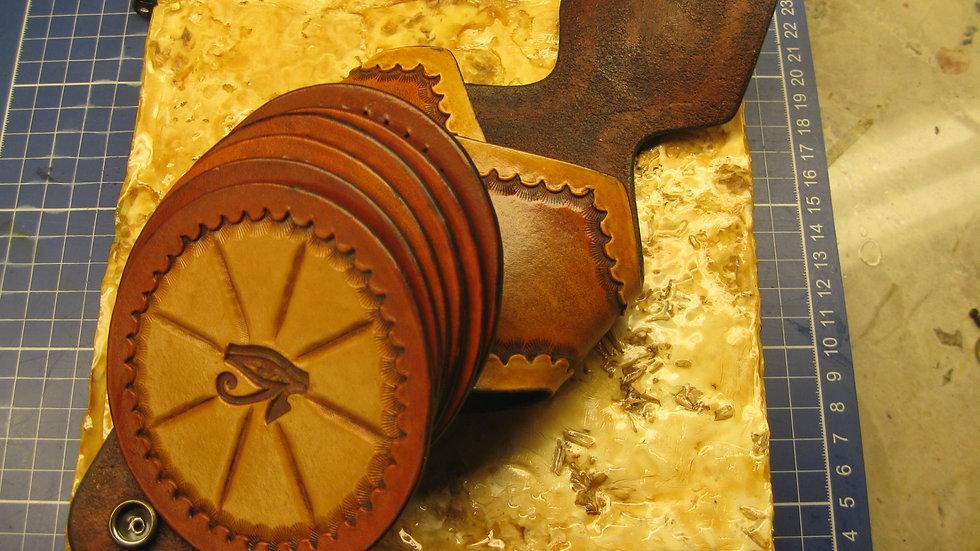 Deluxe Set of six (6) Leather Round Coasters Eye of Horus