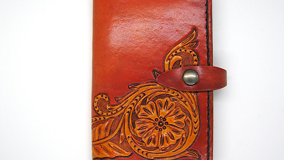 Leather Moleskine Cover (9x14cm Notebook or passport) with Carving