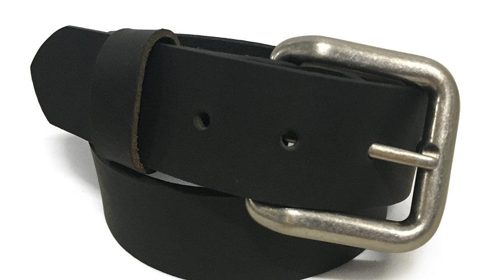 "Handmade 1-1/2"" Buffalo Leather Belt BLACK Size 52"