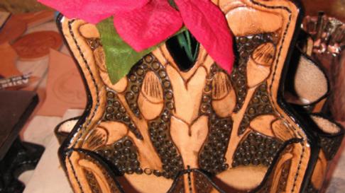 Decorative Leather Vase Vessel, Rustic Home Decor, Leather Sculpture
