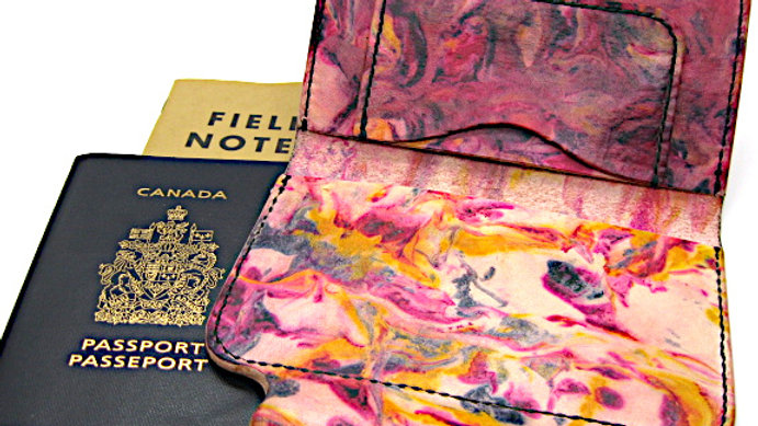Marble Leather Passport Cover, Leather Field Note cover with Pen Holder