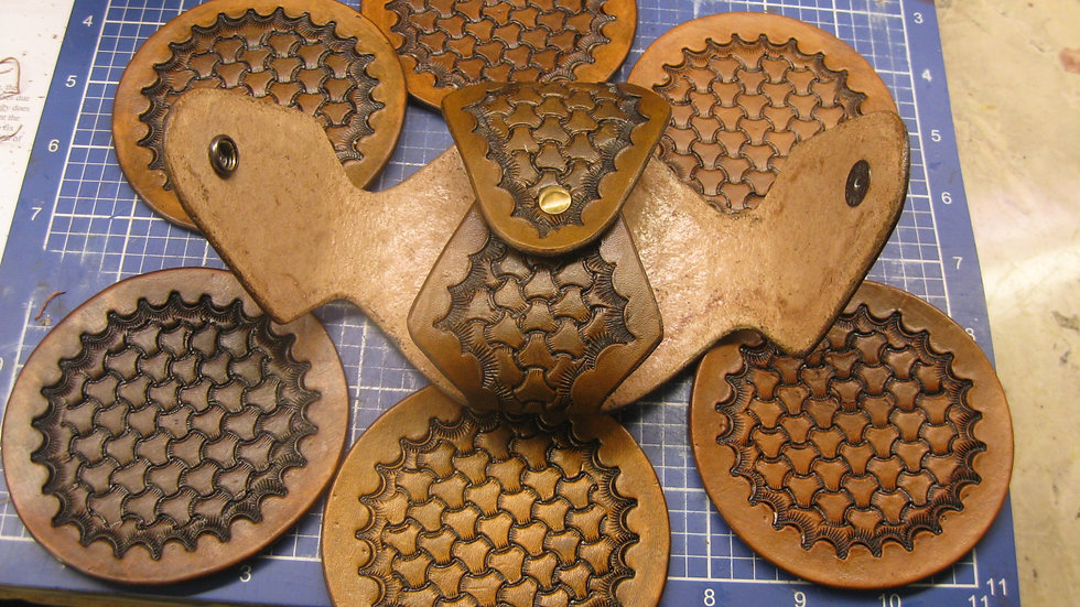 Deluxe Set of six (6) Leather Round Coasters TRI-WAVE with Holder