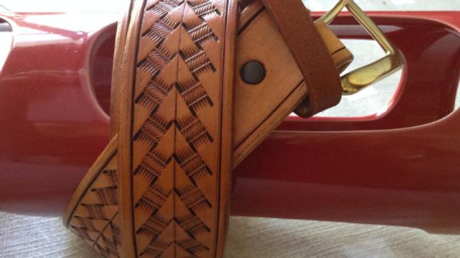 Handmade Leather Belt with Tooled Arrow and heavy duty buckle
