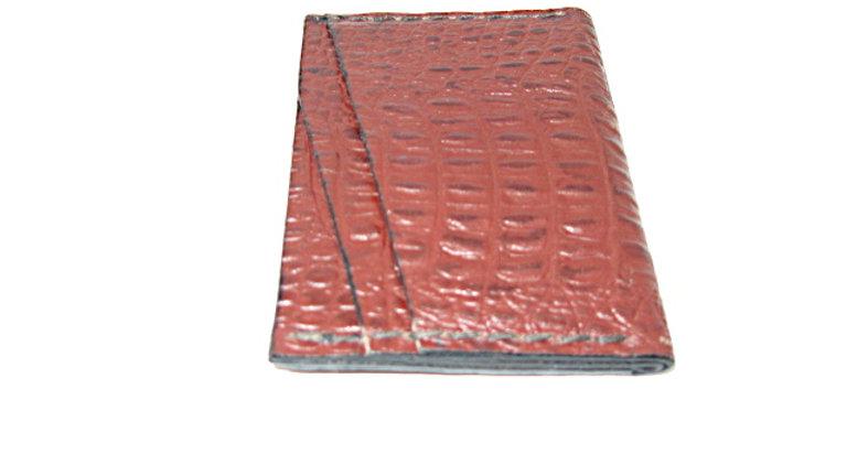 A Five slot card wallet Veg-Tan Leather CrocodilePrint