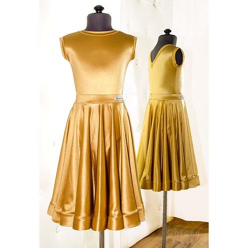 Платье рейтинговое |Юбка 1.5 солнца| Золото | Сатин Вельвет