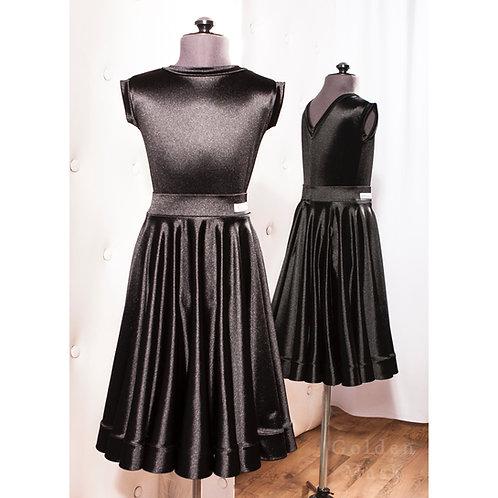 Платье рейтинговое |Юбка 1.5 солнца| Черный Алмаз | Сатин Вельвет
