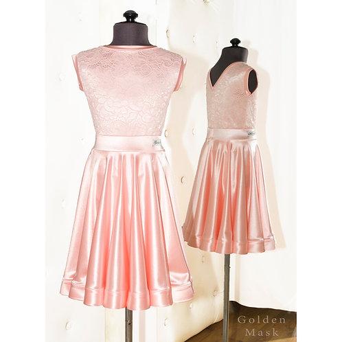Платье рейтинговое |Юбка 1.5 солнца| Розовая пудра| Гипюр + Сатин Вельвет