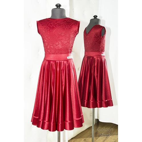 Платье рейтинговое |Юбка 1.5 солнца| Вишня | Гипюр + Сатин Вельвет