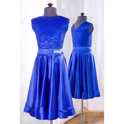 Платье рейтинговое |Юбка 1.5 солнца| Синий электрик | Гипюр + Сатин Вельвет