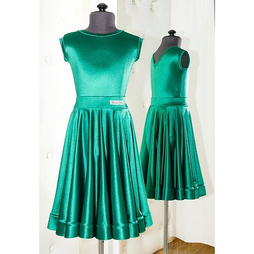 Платье рейтинговое |Юбка 1.5 солнца| Изумруд премиум | Сатин Вельвет