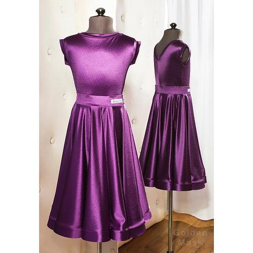 Платье рейтинговое |Юбка 1.5 солнца| Пурпурный | Сатин Вельвет