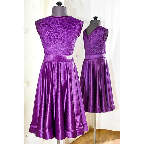 Платье рейтинговое |Юбка 1.5 солнца| Пурпурный | Гипюр + Сатин Вельвет