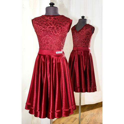 Платье рейтинговое |Юбка 1.5 солнца| Винный | Гипюр + Сатин Вельвет