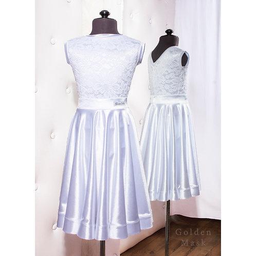 Платье рейтинговое |Юбка 1.5 солнца| Белый | Гипюр + Сатин Вельвет