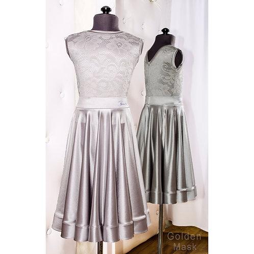 Платье рейтинговое |Юбка 1.5 солнца| Платина | Гипюр + Сатин Вельве