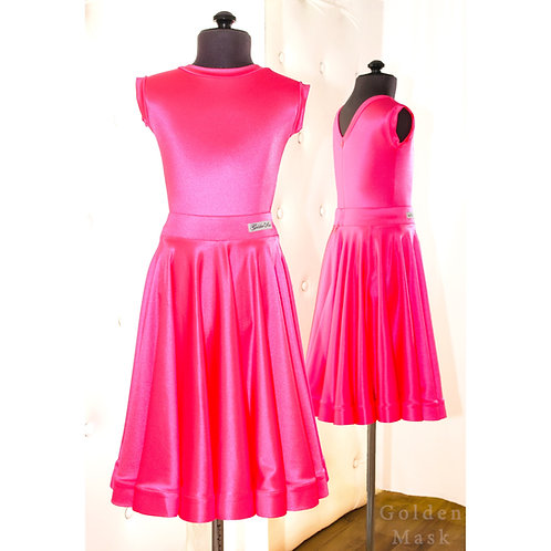 Платье рейтинговое |Юбка 1.5 солнца| Розовый барби | Сатин Вельвет