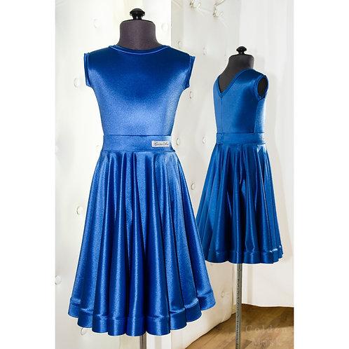 Платье рейтинговое |Юбка 1.5 солнца| Синий Королевский | Сатин Вельвет