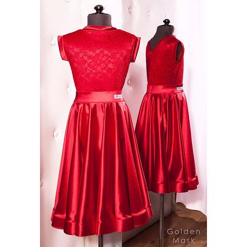 Платье рейтинговое |Юбка 1.5 солнца| Красный электрик | Гипюр + Сатин Вельвет