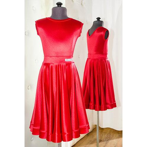 Платье рейтинговое |Юбка 1.5 солнца| Красный электрик | Сатин Вельвет